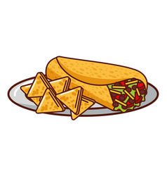 burrito and nachos mexican food traditional vector image