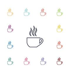 Cap of tea flat icons set vector