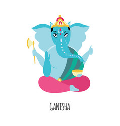 cartoon ganesha with blue elephant head - hinduism vector image