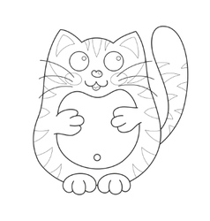 Cartoon smiling stoutish gentle kitty with stripes vector image
