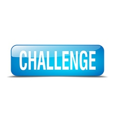 Challenge blue square 3d realistic isolated web vector