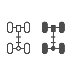 Chassis line and glyph icon wheel vector