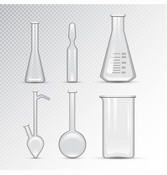 chemical laboratory 3d lab flask glassware tube vector image