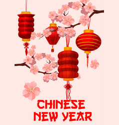 Chinese new year red paper lantern greeting card vector