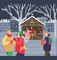 christmas fair in city couple walking with coffee vector image