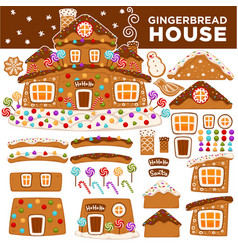 Christmas gingerbread house constructor cartoon vector