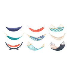collection of hammocks of different types isolated vector image