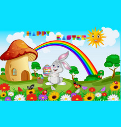 congratulations on easter with a rabbit vector image