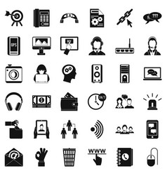 contact us icons set simple style vector image