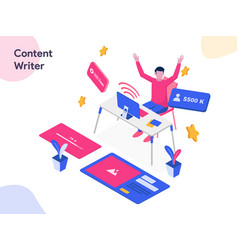 Content writer isometric modern flat design vector