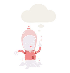 Cute cartoon alien and thought bubble in retro vector