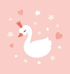 cute little swan princess vector image