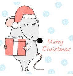 cute mouse in a santa hat christmas card vector image