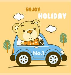 Cute teddy bear cartoon vector