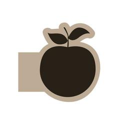 Dark contour apple fruit icon vector