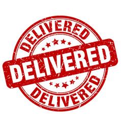 Delivered red grunge stamp vector