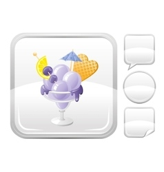 Dessert food icon with blueberry ice cream in vector