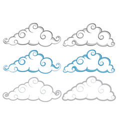 different shapes of clouds on white background vector image