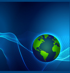 digital technology earth world map on blue vector image