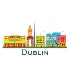 Dublin ireland city skyline with color buildings vector
