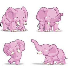 Elephant in Several Poses Standing Dancing vector image