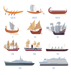 Evolution and development ships and boats vector