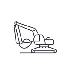excavator works line icon concept excavator works vector image