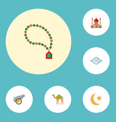 Flat icons arabic calligraphy new lunar bead and vector