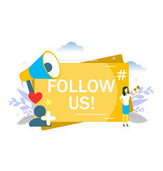 follow us message flat style design vector image