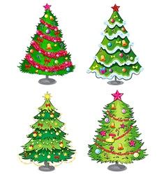 Four christmas trees vector
