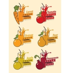 fruits and glass for fresh juice vector image vector image