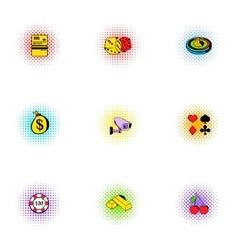 Gambling house icons set pop-art style vector image