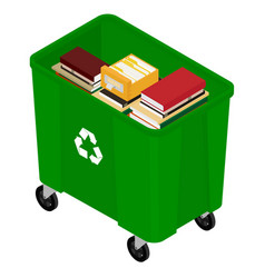 garbage and books vector image