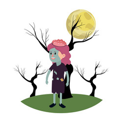 Girl with zombie costume and trees branches vector