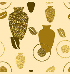 golden seamless pattern with vases vector image