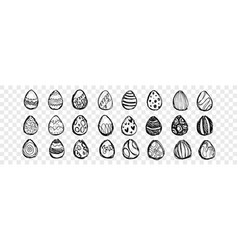 hand drawn easter eggs set collection vector image