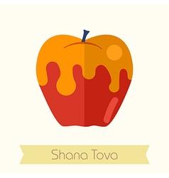 Honey on apple Rosh Hashanah icon Shana tova vector