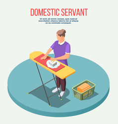 housemaid isometric composition vector image