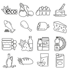 icons on the theme of eco food in style of lines vector image