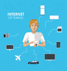 Internet of things man wearable technology device vector