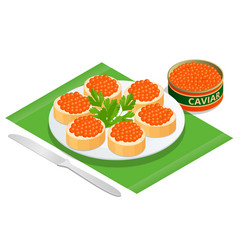 isometric salmon red caviar rye bread with butter vector image