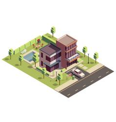 Isometric suburban villa composition vector