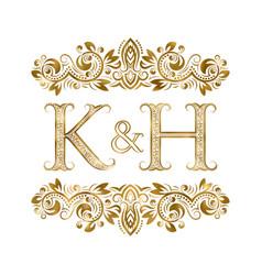 k and h vintage initials logo symbol letters vector image