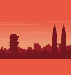 landscape of city tour silhouettes vector image