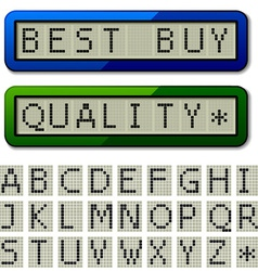 Lcd display pixel font - uppercase characters vector