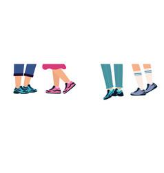 Legs people group walking in shoes feet in vector