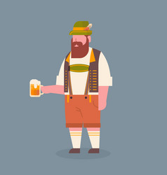 man hold beer mug wearing traditional german vector image