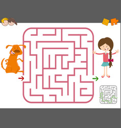maze game with girl and dog vector image vector image