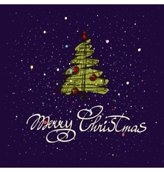 Merry Christmas hand lettering isolated on dark vector image