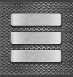 Metal rectangle plates on perforated background vector